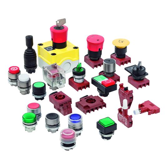 Voyants, lampes, boutons poussoirs & commutateurs de position